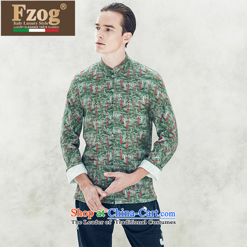 Phaedo of ethnic FZOG_ fashion industry stamp stereo Tray Tie long-sleeved Men's Mock-Neck leisure temperament Tang dynasty green聽XL