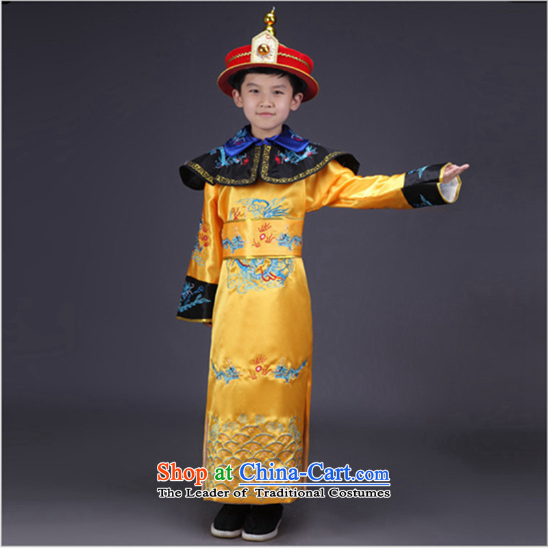 The Syrian children stay of the Qing emperor clothing ancient costumes and photo building photography of children's wear Han-national theatrical performances for clothing Yellow?150CM