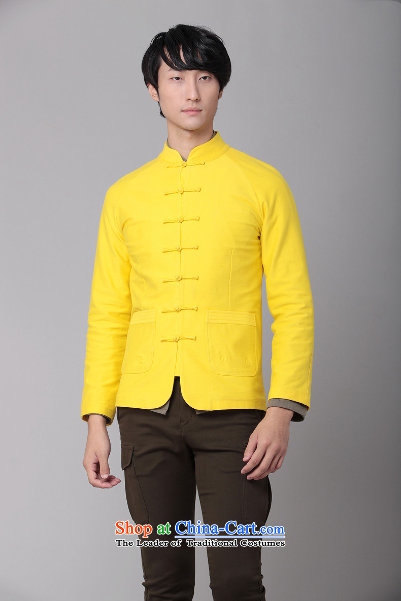 Phaedo of China FZOG/ wind collar slotted pan detained Men's Shirt Chinese young man pure cotton long-sleeved yellow M Tang dynasty picture, prices, brand platters! The elections are supplied in the national character of distribution, so action, buy now enjoy more preferential! As soon as possible.