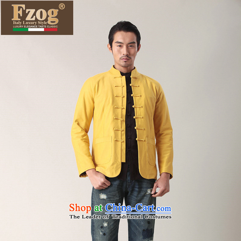 Phaedo of China FZOG_ wind collar slotted pan detained Men's Shirt Chinese young man pure cotton long-sleeved Tang Dynasty Yellow聽M