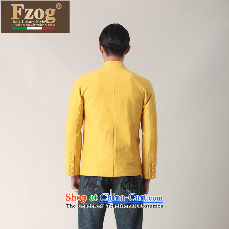 Phaedo of China FZOG/ wind collar slotted pan detained Men's Shirt Chinese young man pure cotton long-sleeved yellow M,fzog,,, Tang dynasty shopping on the Internet