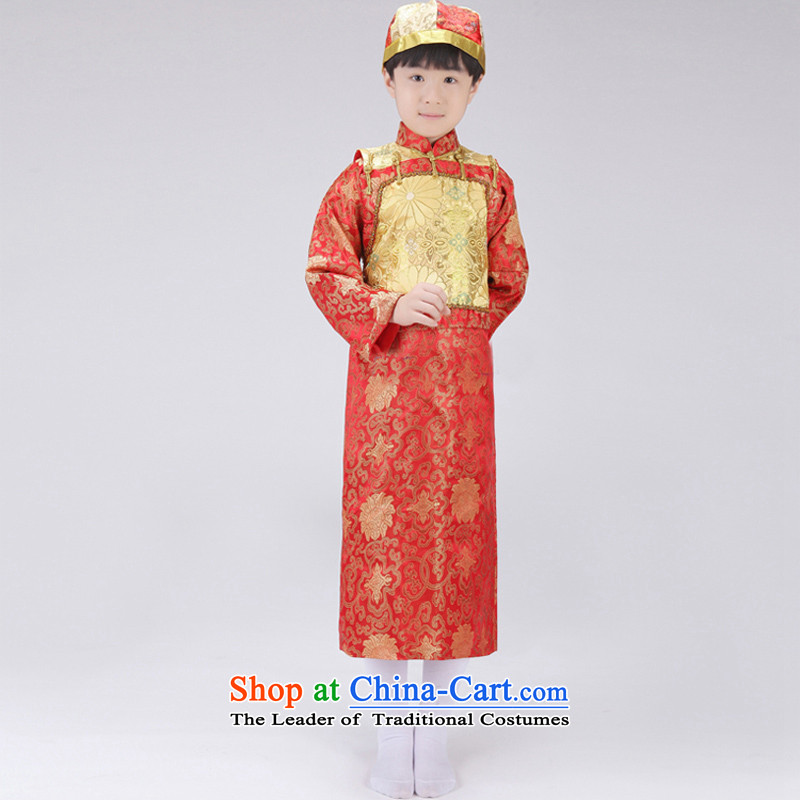 The Syrian children in the Qing dynasty ancient time Bailey, and clothing boy landowners Shao Ye Zhan post hat Wangyeh stage shows red yellow vest serving�0CM
