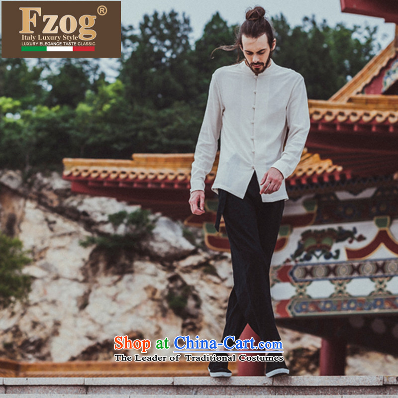 Phaedo of autumn FZOG_ new stylish urban men China wind-free ironing Mock-neck pure color long-sleeved men and Tang dynasty white?L
