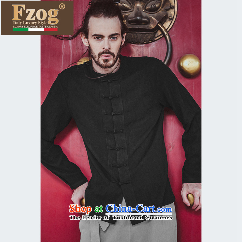 Phaedo of FZOG/ elegance temperament of Men's Mock-Neck pure color loose China wind youth Long-sleeve Tang-pack Black?M
