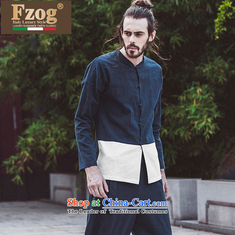 Phaedo grid style FZOG_ China wind spell color men comfortable cotton linen youth Long-sleeve leisure Tang blue聽L