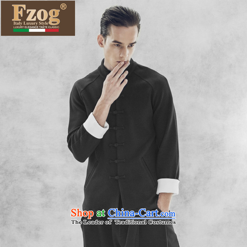 Phaedo grid autumn FZOG/ new personality minimalist solid color men China anti wrinkle collar long-sleeved black?XL leisure Tang