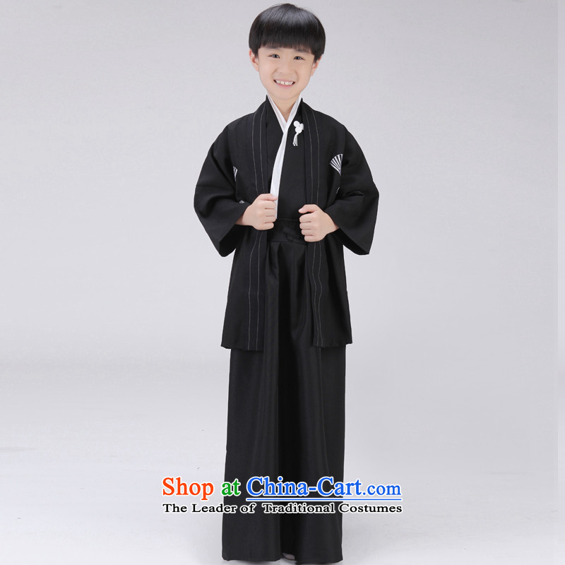 The Syrian children stay kimono boy photographed the Japanese samurai services will start with the Photo Album Children Annual stage costumes will clothes black?120CM