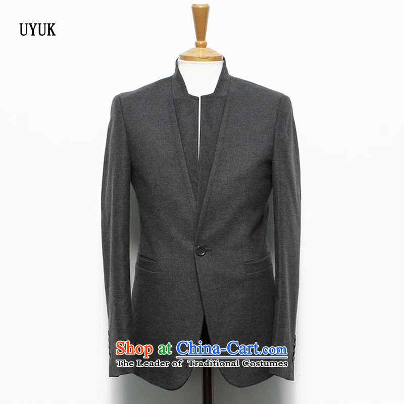 Install the latest autumn and winter UYUK2015_ Date of retro Chinese tunic jacket Korean Men's Mock-Neck Sau San Mao? The suit leisure suit male and gray hair?燲XL