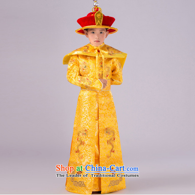 The Syrian children stay of the Qing emperor clothing small Prince Edward Tsar ancient costumes and photo building photography of children's wear Han-stage performances by national service clothes clothes Yellow?130CM