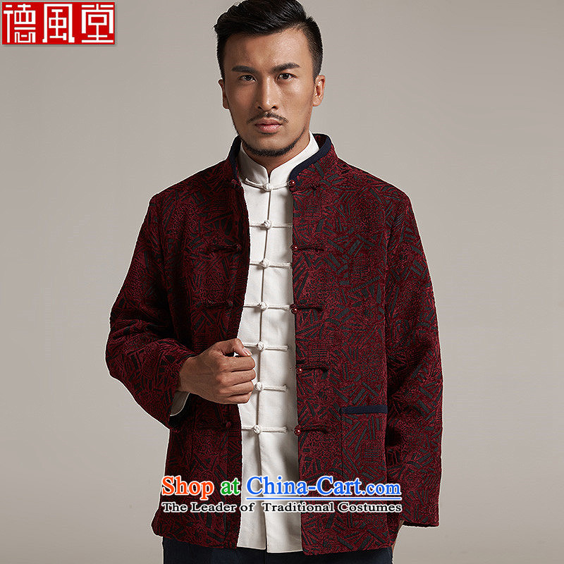 Fudo Hong Wai Tak聽2015 autumn and winter new products men Tang China Wind Jacket men older casual jacket China wind聽2XL_180 dark red