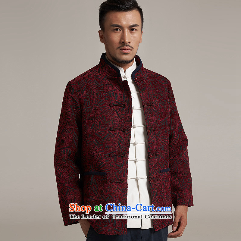 Fudo Hong Wai Tak聽2015 autumn and winter new products men Tang China Wind Jacket men older casual jacket China wind聽2XL/180, dark red de fudo shopping on the Internet has been pressed.