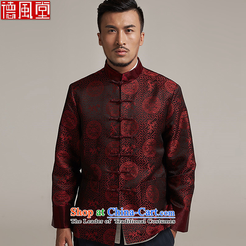 De Fudo his?2015 autumn and winter new products men Tang dynasty China wind older men casual jacket China wind?2XL/180 dark red