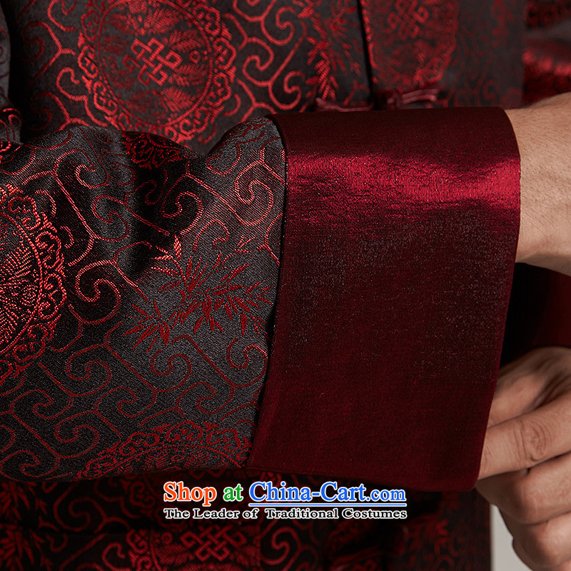 De Fudo his聽2015 autumn and winter new products men Tang dynasty China wind older men casual jacket China wind聽2XL/180, dark red de fudo shopping on the Internet has been pressed.