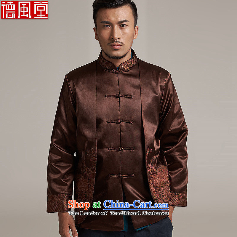 Fudo Abraham, and China wind Men's Jackets Tang Gown robe 2015 autumn and winter middle-aged long-sleeved father new coffee-colored聽3XL_180 load