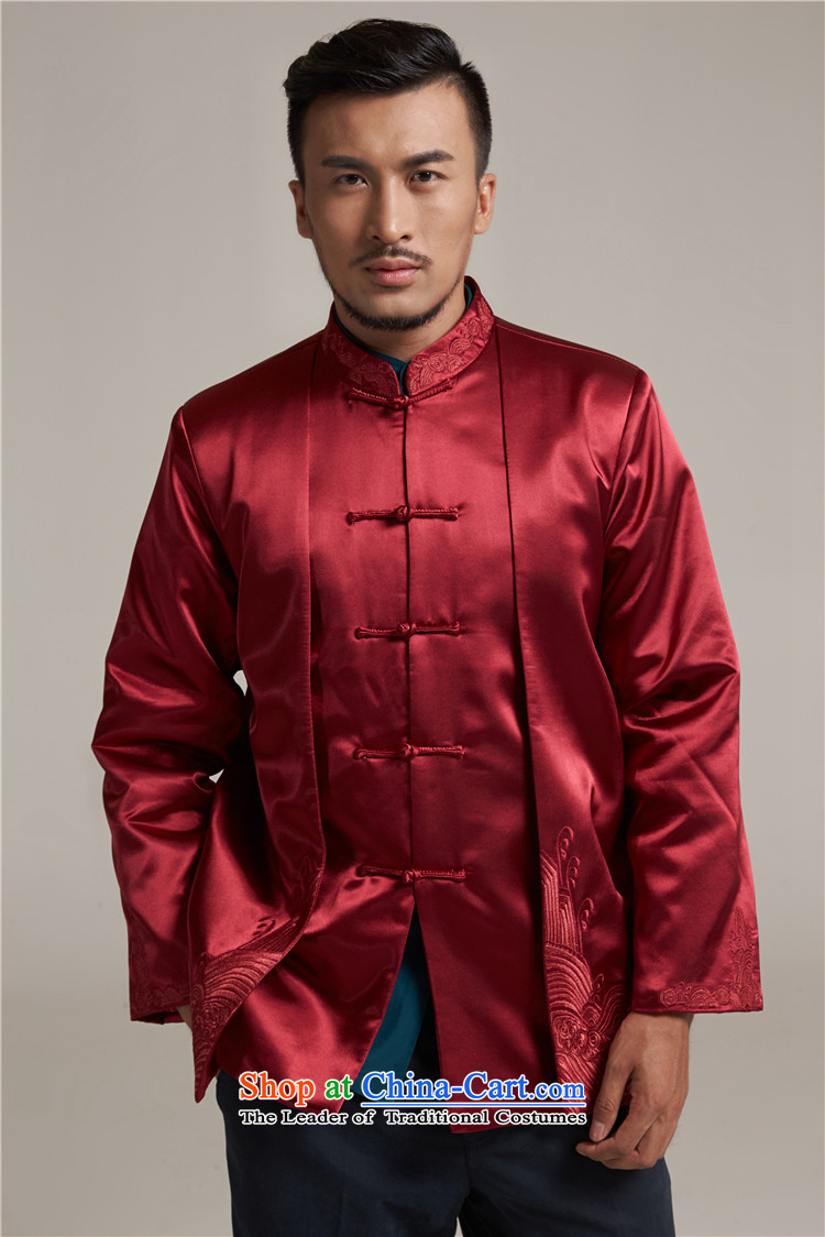 Tak Sun and Fudo China wind Men's Jackets Tang Gown robe 2015 autumn and winter middle-aged long-sleeved red load new father 2XL/175 picture, prices, brand platters! The elections are supplied in the national character of distribution, so action, buy now enjoy more preferential! As soon as possible.