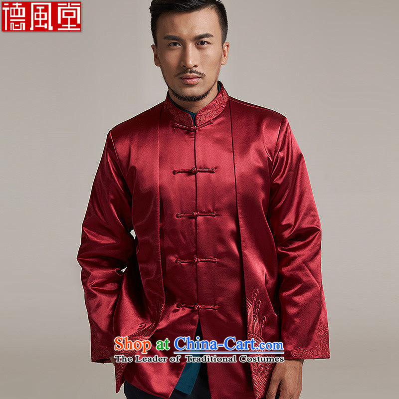 Tak Sun and Fudo China wind Men's Jackets Tang Gown robe 2015 autumn and winter middle-aged long-sleeved red load new father聽2XL_175