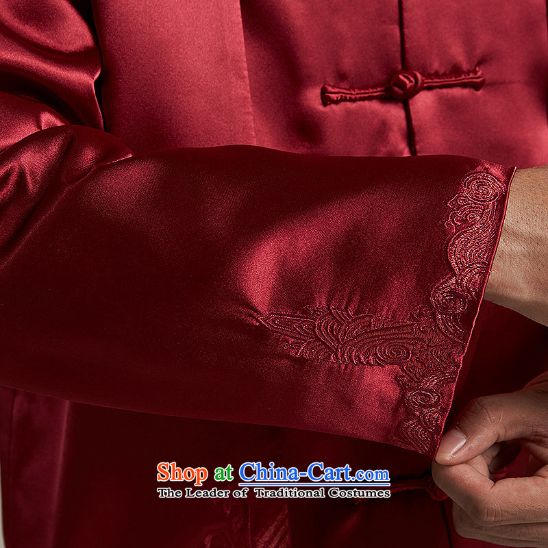 Tak Sun and Fudo China wind Men's Jackets Tang Gown robe 2015 autumn and winter middle-aged long-sleeved red load new father 2XL/175, de fudo shopping on the Internet has been pressed.