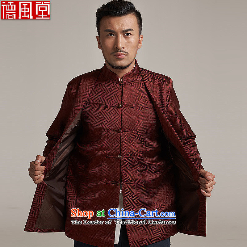 Fudo de and new China wind load Men's Jackets Tang Gown robe 2015 autumn and winter middle-aged long-sleeved father replacing Chinese clothing聽4XL_185 red and brown