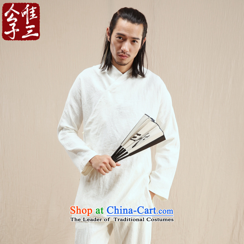 Cd 3 model of Abraham, China wind ramie male Han Chinese jacket leisure Tang Ma load ethnic Han-yi autumn wind聽170_88A_M_ White