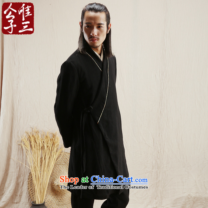 Cd 3 model of Liang Han-China wind linen male Han Chinese jacket leisure Tang Ma load ethnic Han-yi autumn wind聽170_88A_M_ black