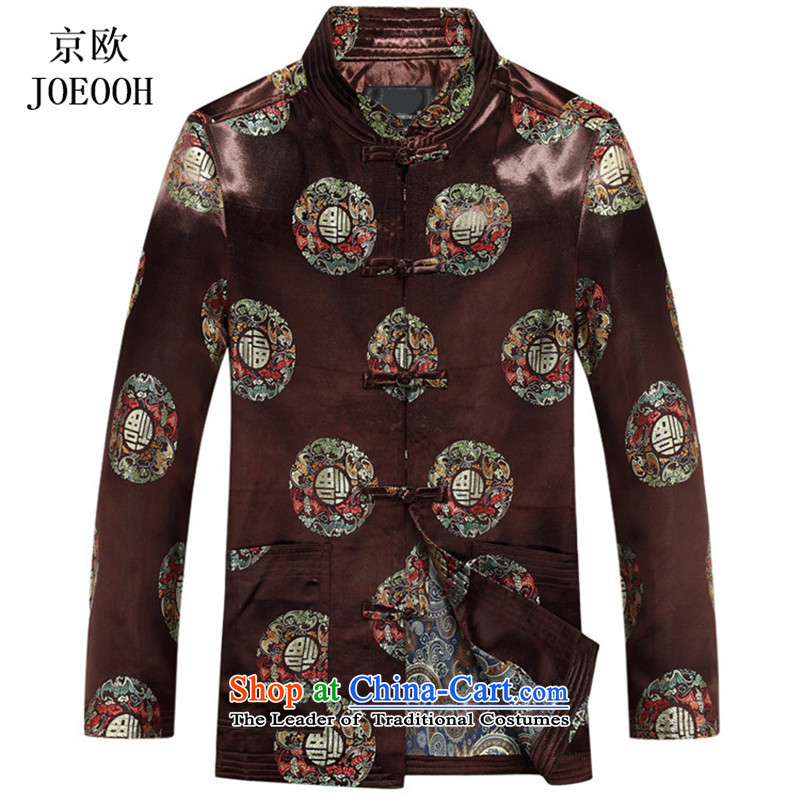 Putin _JOE OOH autumn Tang dynasty men thick jacket coat of older persons in the Chinese Dress autumn load long-sleeved brown燲XXL