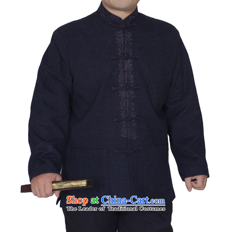 The autumn and winter new solid color embroidery upscale male jacket in Tang Dynasty elderly father woolen blended W1503 Blue?180 code