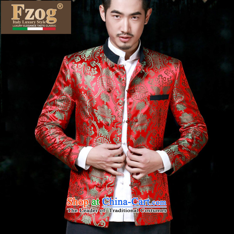 Phaedo of China FZOG_ autumn wind men Chinese wedding dress collar Sau San Tong jacket from Jewish men RED燤