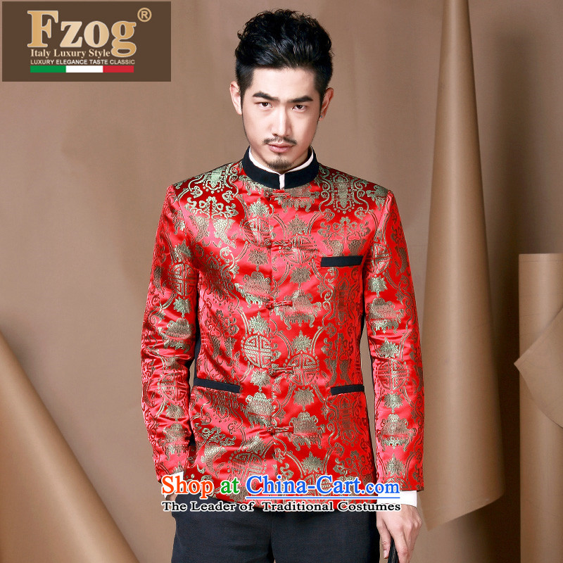 Phaedo of China FZOG/ autumn wind men Chinese wedding dress collar Sau San Tong jacket from Jewish men red M,fzog,,, shopping on the Internet