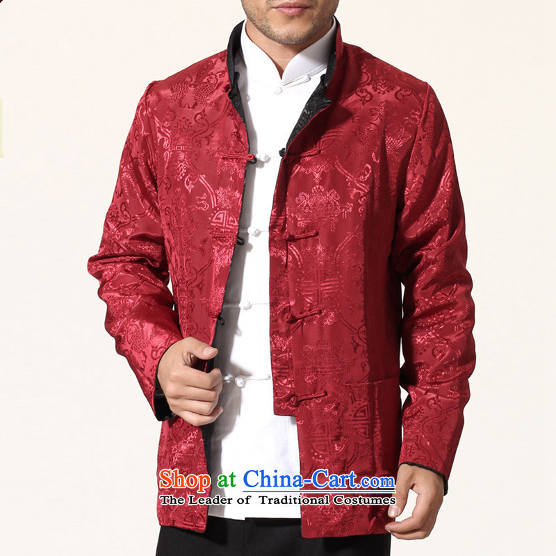 The fall of ILELIN2015 older persons men long-sleeved shirt Tang Dynasty Chinese middle-aged men's Han-costume father grandfather autumn jackets red燲XL