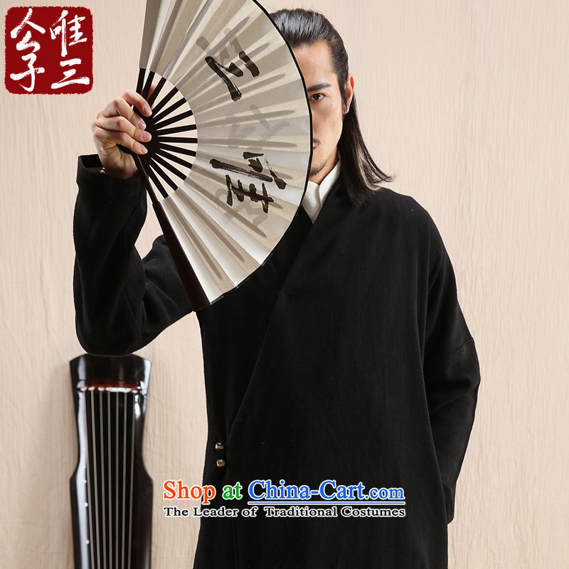 Cd 3 model have Potzu China wind linen male Han Chinese jacket leisure Tang Ma load ethnic Han-yi autumn wind?165/84A(S) black