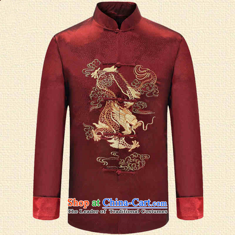The fall of ILELIN2015 older persons men Tang dynasty long-sleeved ball-middle-aged men Chinese clothing Han-grandfather autumn jackets 3XL RED聽M