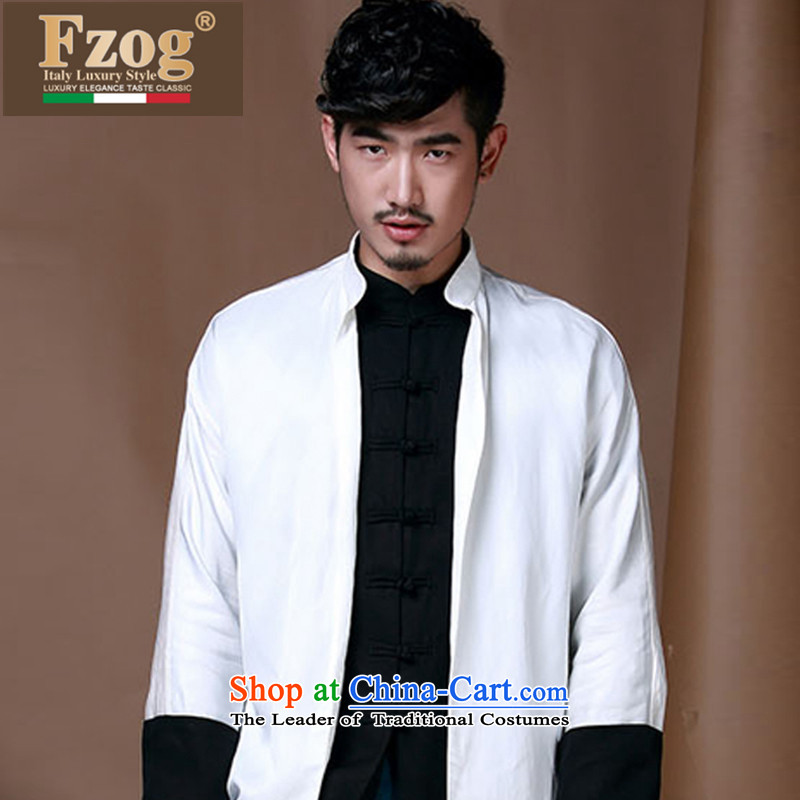 Phaedo of FZOG_ autumn and winter comfortable cotton linen Chinese shirt collar retro-tie long-sleeved jacket white燲XXL Tang