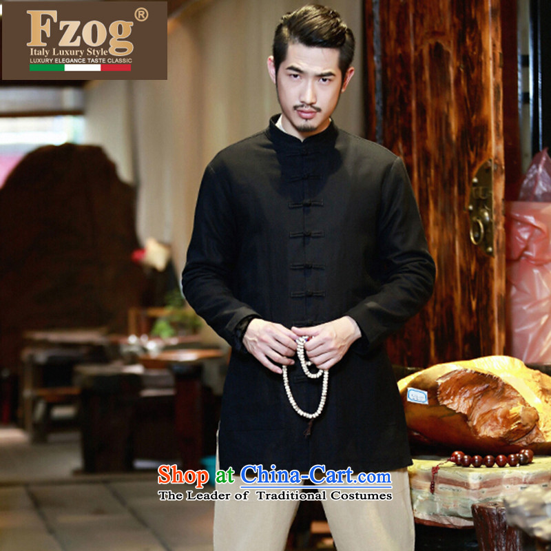 Phaedo of China FZOG/ wind cotton linen cheongsams men's shirts in Han-long ball-men serving casual Tang-pack Black?S