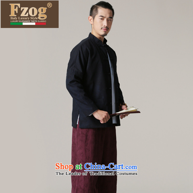 Phaedo of China FZOG_ autumn wind New Men's Jackets pure cotton in older men with Father Tang dynasty hands-free ironing dark blue聽S