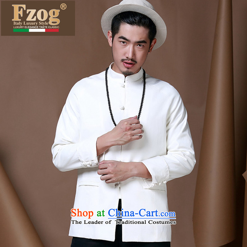 Phaedo of FZOG/ autumn and winter Youth Chinese tunic of Men's Mock-Neck long-sleeved China wind cotton linen leisure Tang jackets White?XXL