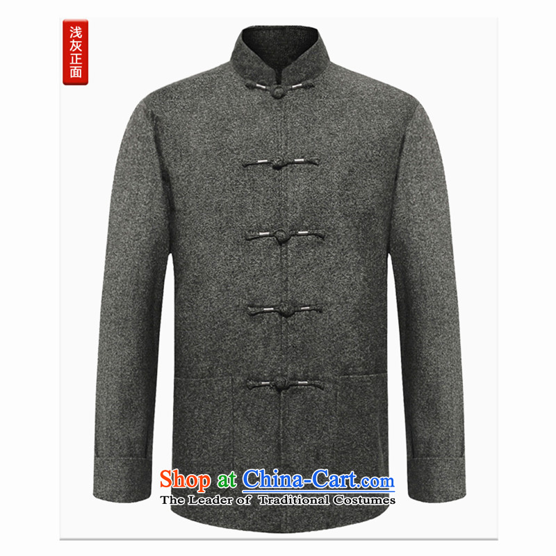 Older persons in the Tang dynasty men Chinese middle-aged men's Long-sleeve father grandfather autumn and winter jackets Tang dynasty wedding services older grandpa over birthday life jackets and light gray?M