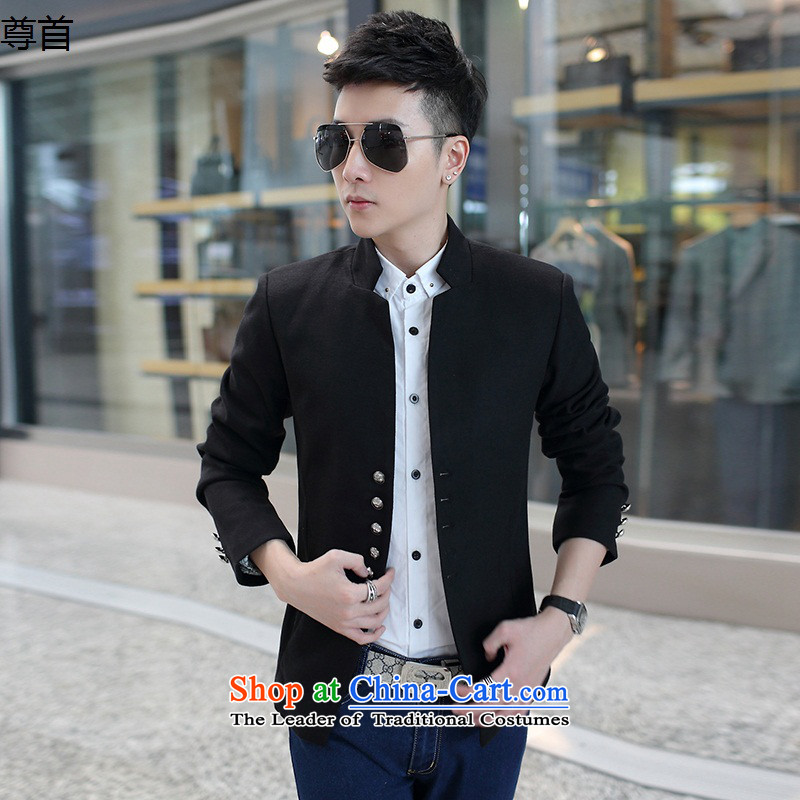 The first fall 2015 respecting men's jackets Korean Sau San collar gross? Chinese tunic jacket Black?XL