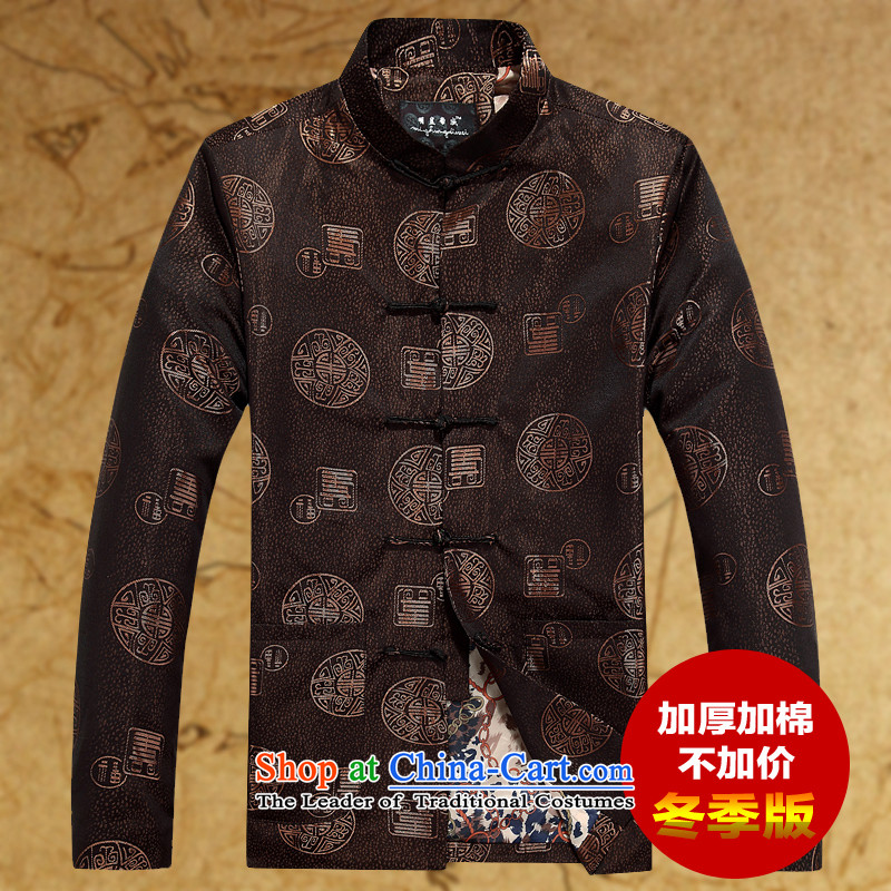 Replacing men Tang grandpa jacket thick coat in the autumn and winter Older long-sleeved jacket plus units Tang jacket and coffee-colored�0
