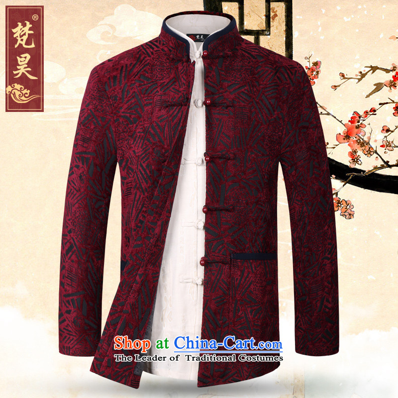 Van Gogh's new autumn and winter men Tang jackets Chinese collar disc clip of older persons in the large red�3XL W1370 Clothing