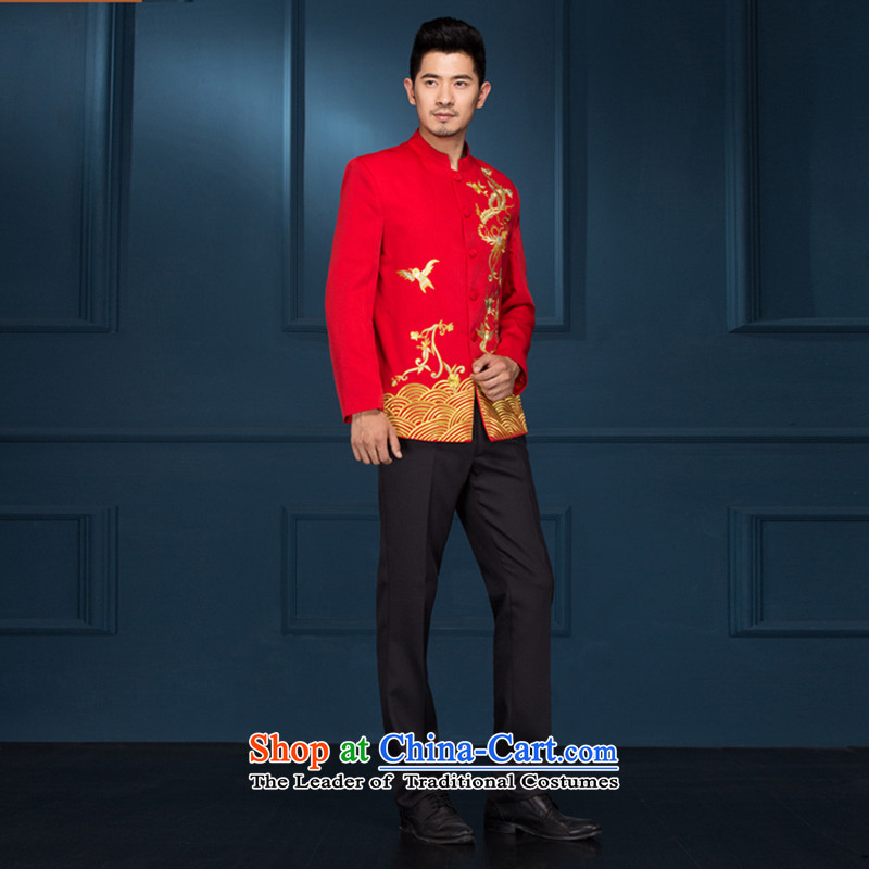 Chinese Dress-soo wo service men's new Chinese style wedding groom marriage long-sleeved Tang Dynasty Chinese tunic hi-dress costume show red爎ed 190�5