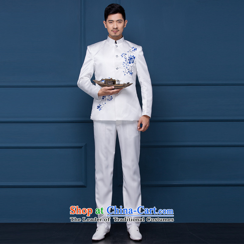 Wedding dresses men's dress wedding photography dress China wind moderator dress male Chinese tunic will Men Arena porcelain Chinese White small Blue?170