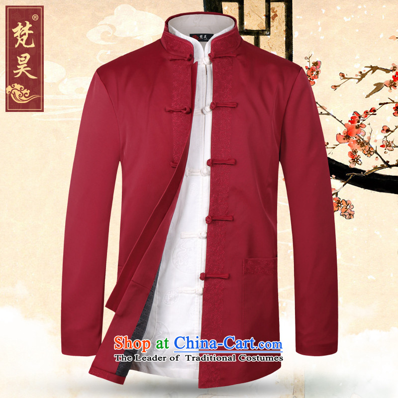 Van Gogh's older men's jackets Tang long-sleeved jacket dad autumn and winter Chinese collar birthday dress W1368 Chinese Red�L