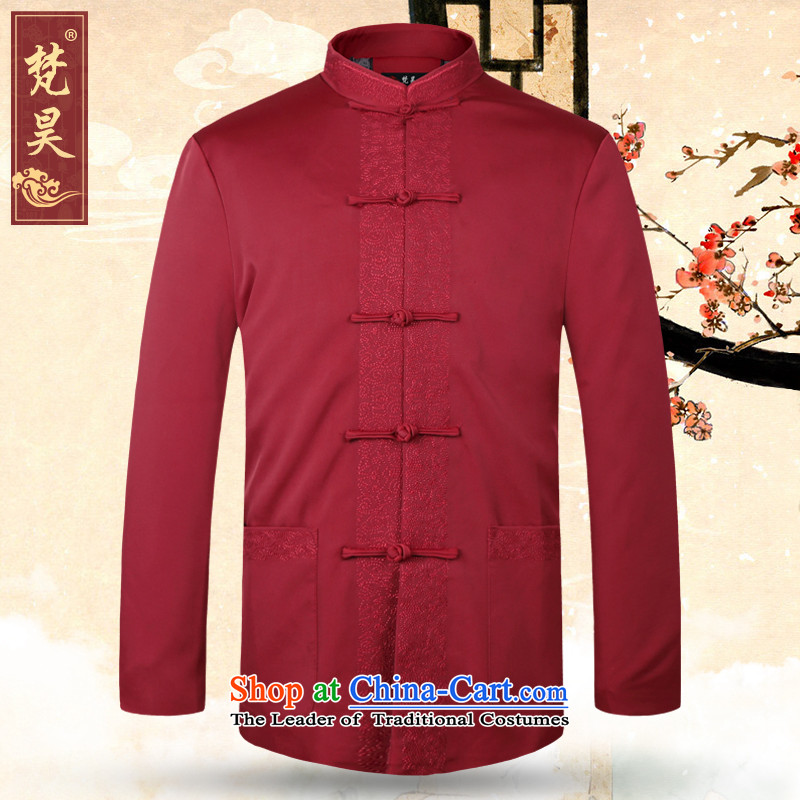 Van Gogh's older men's jackets Tang long-sleeved jacket dad autumn and winter Chinese collar birthday dress W1368 chinese red 2XL, Van Gogh's shopping on the Internet has been pressed.