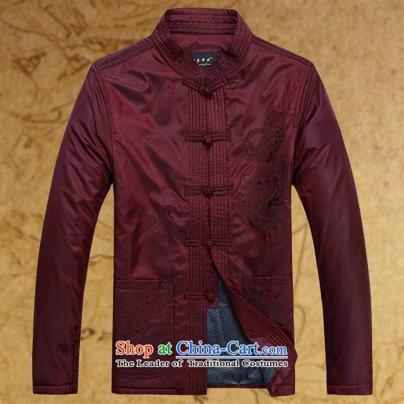 The new middle-aged men Tang jacket with large leisure autumn Tang Dynasty Chinese long-sleeved thickened with Grandpa shirt warm jacket dark red (single) 175