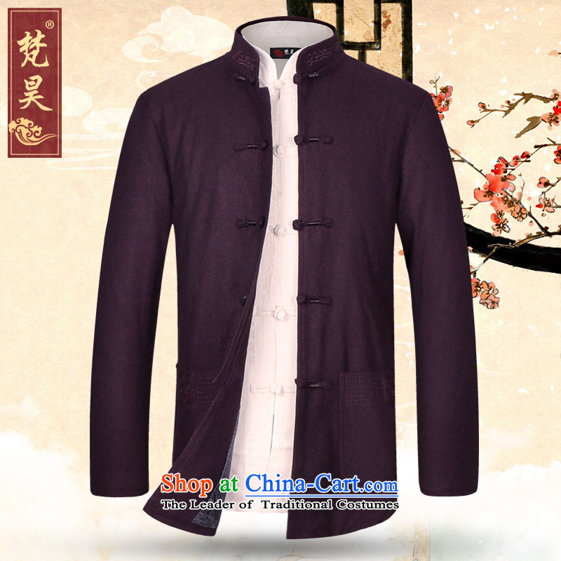 Van Gogh's new autumn and winter coats in Tang Dynasty men and elderly Chinese Dad? wool jacket with a Use W625�L wine red