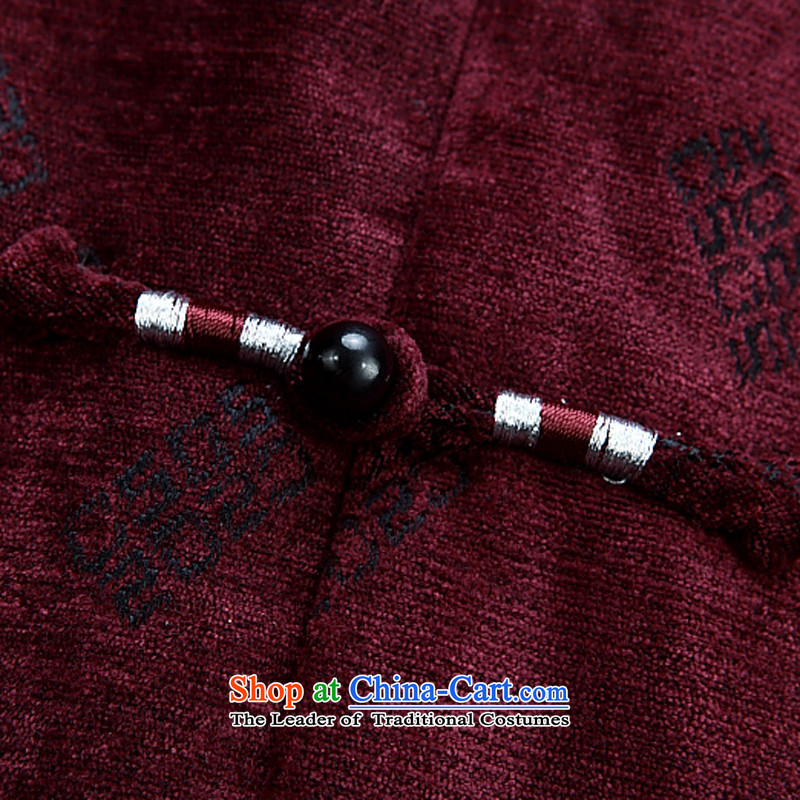 2015 Autumn and winter in the new elderly men Tang jacket with large leisure autumn Tang Dynasty Chinese long-sleeved thickened with Grandpa shirt jacket deep red聽180,JACK EVIS,,, shopping on the Internet