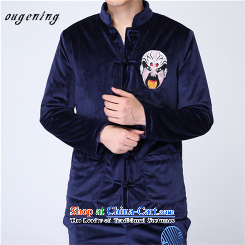 The name of the 2015 autumn of the OSCE New China wind Men's Mock-Neck Shirt embroidery ethnic retro leisure velvet jacket coat blue燲L