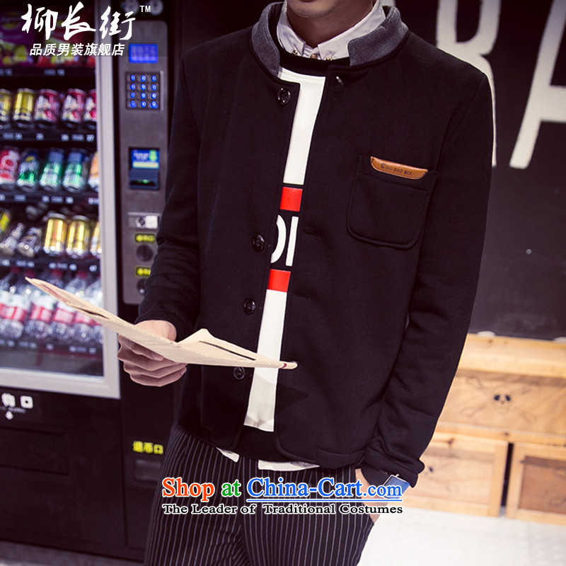 Yoo Jang street 2015 autumn and winter new men small jacket collar Chinese tunic Sau San Tong sweater leisure-pack Black?M