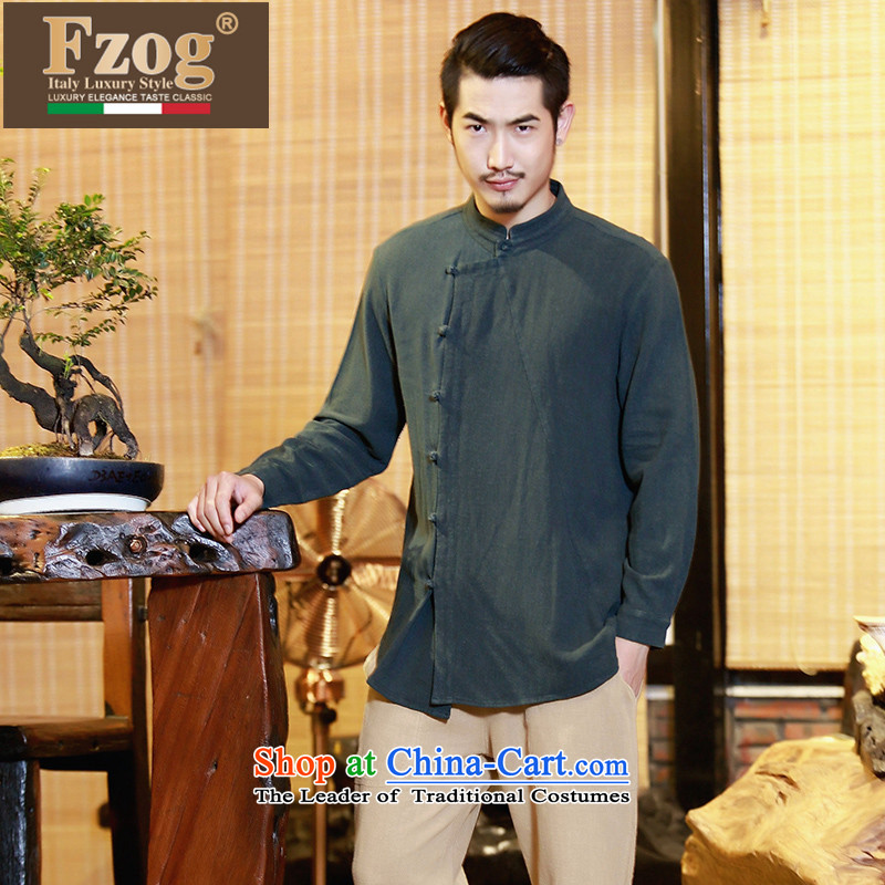 Phaedo of FZOG/ national costumes linen men fall jacket improved Han-chinese disc detained leisure Tang Dynasty Army Green?M
