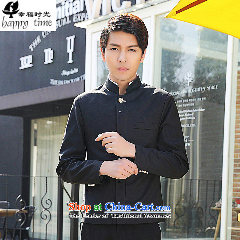 Happy Times for the autumn and winter New Men Chinese tunic suit small new autumn Men's Mock-Neck Korean Sau San style Black聽XL